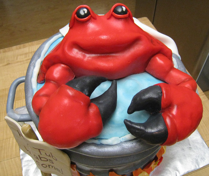 Fondant Cake With Crab On It