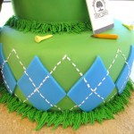 golf cake with argyle pattern