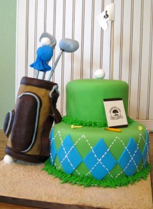 golfing cake with golf bag