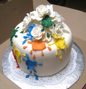 paintball side of double birthday cake