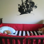 pirate ship decal over crib