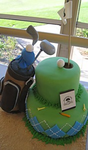 golf cake with golf bag top view