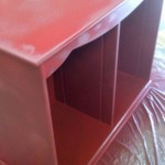 cabinet painted red