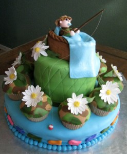 Camouflage and daisies  baby boy shower cake