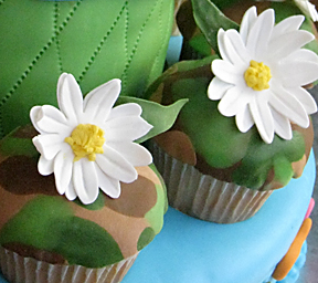 lemon flavored cupcakes with camouflage fondant