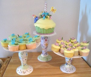 floral cupcake display