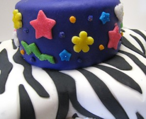 black and white zebra, star and flower cutouts