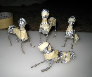 dog skeletons from wire and foil