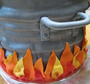 CLose up of pot handle and flames