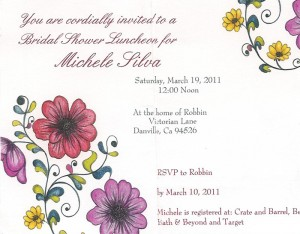 country bride shower invitation floral design