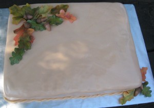 autumn leaves and acorn fall birthday cake