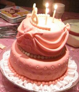 pink and white princess birthday cake