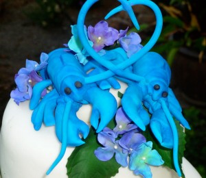 blue lobster wedding cake topper