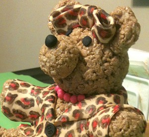 Fondant leopard coat on cereal bear