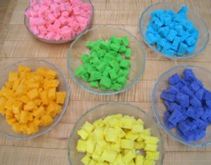 Colorful cake cubes.