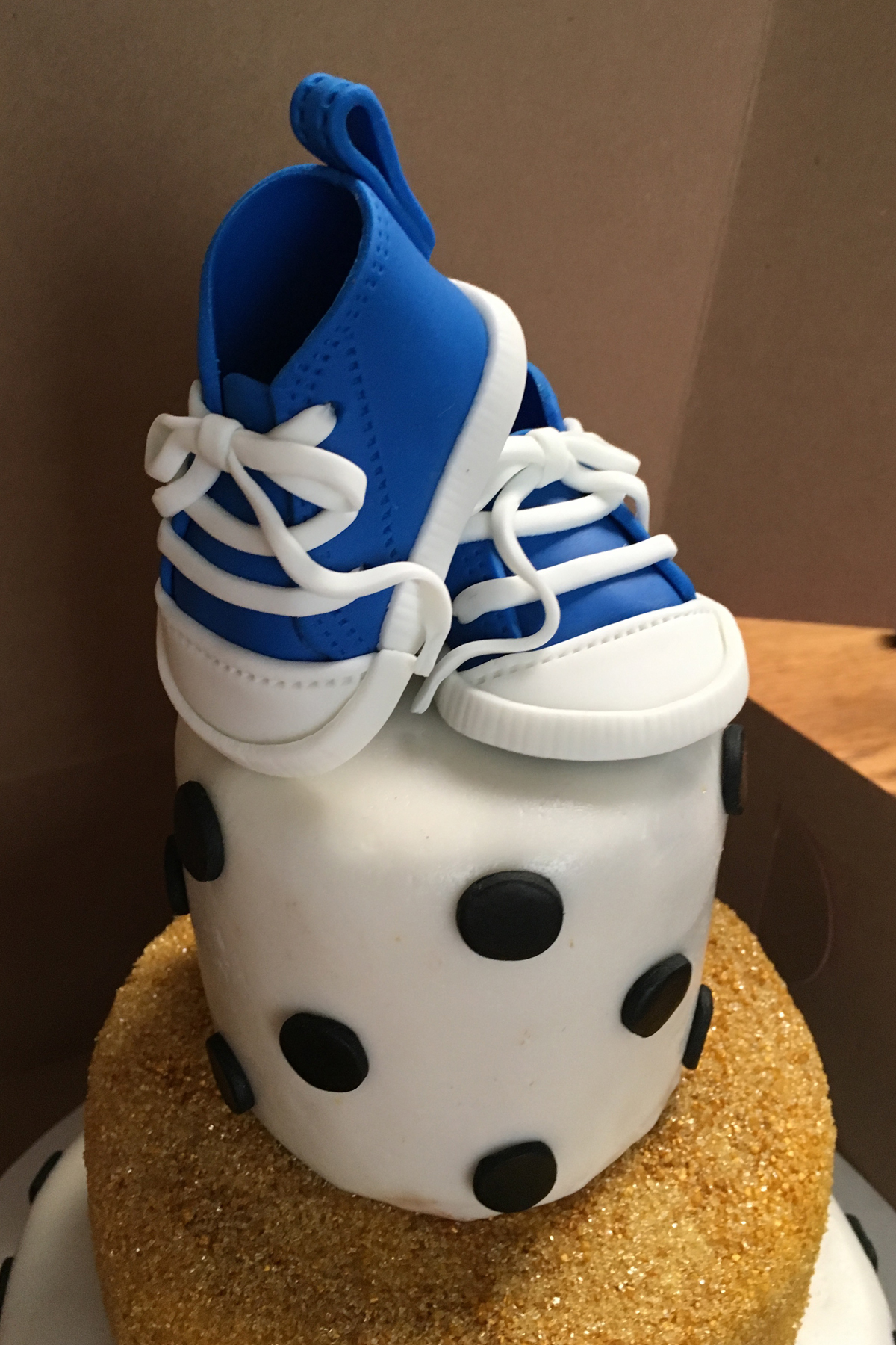 Black & White Baby Shower Cake with Blue Sneakers!