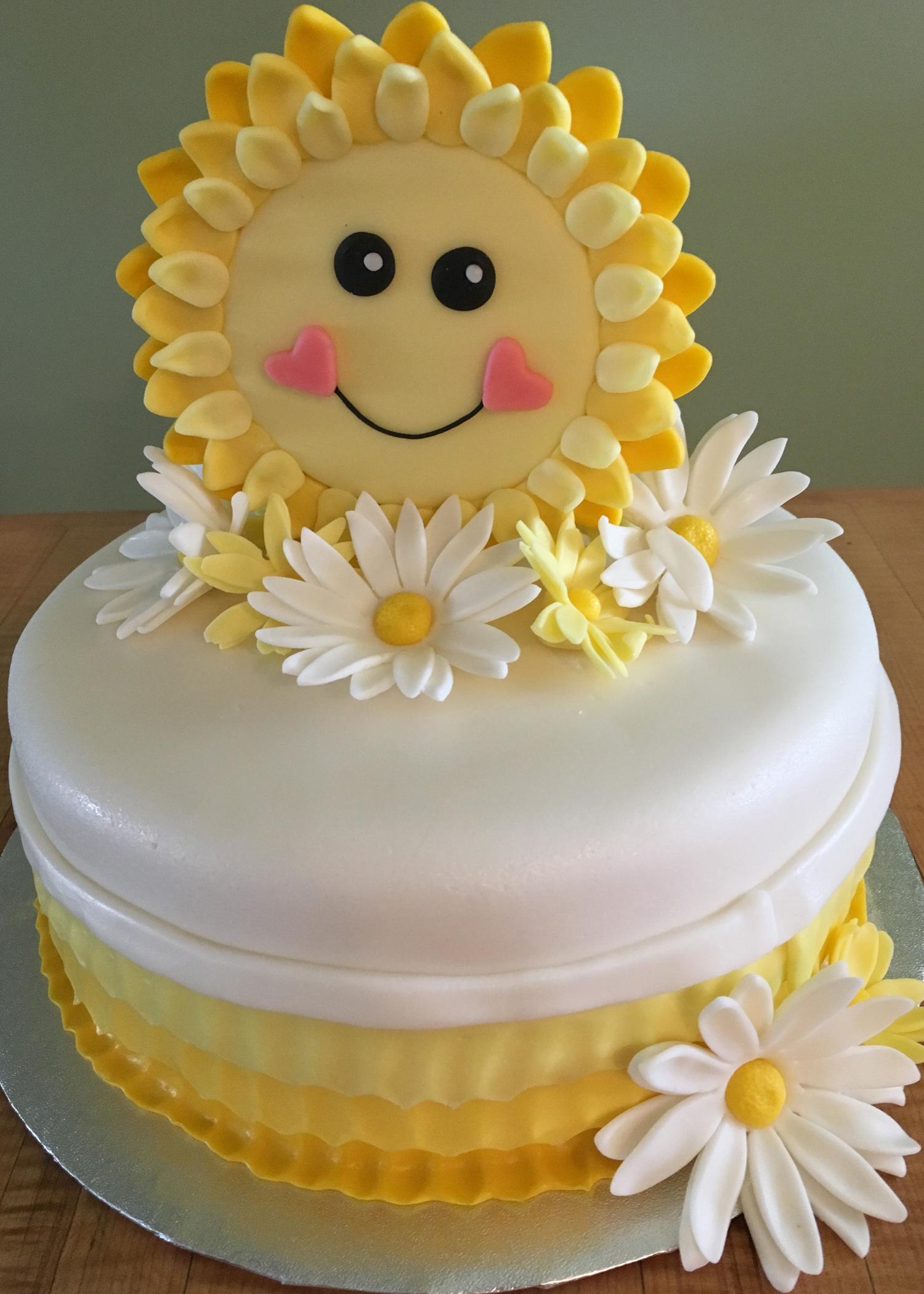 Sunshine and Daisies 1st Birthday Cake